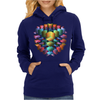 3-D Cube with Colorful Elements Womens Hoodie