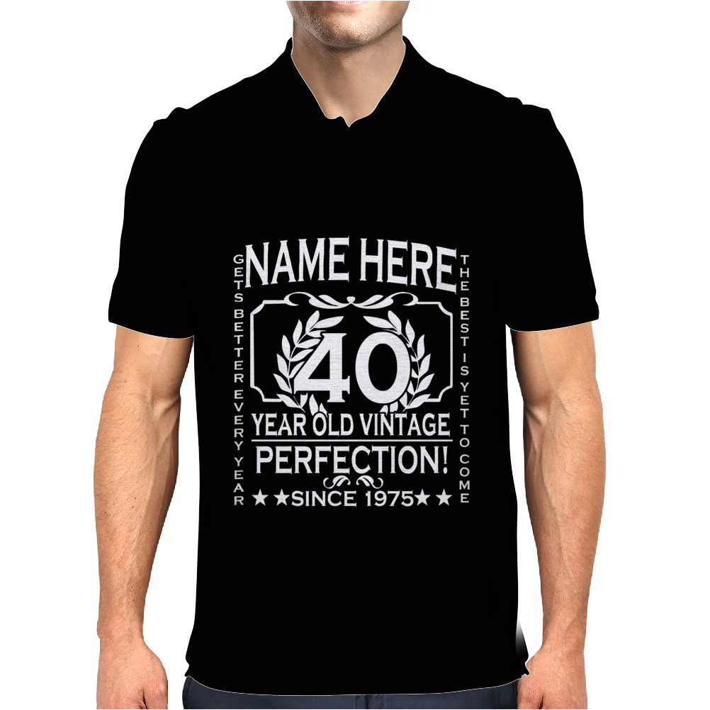 40th Birthday T-Shirt Personalise with Name Age Year Ideal Birthday Gift Mens Polo