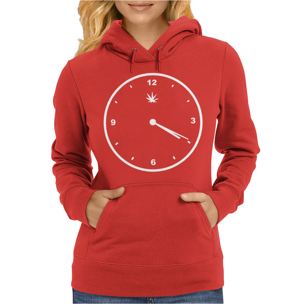 420 Clock Face Stoner Humour Weed Cannabis Pot Four Twenty Womens Hoodie