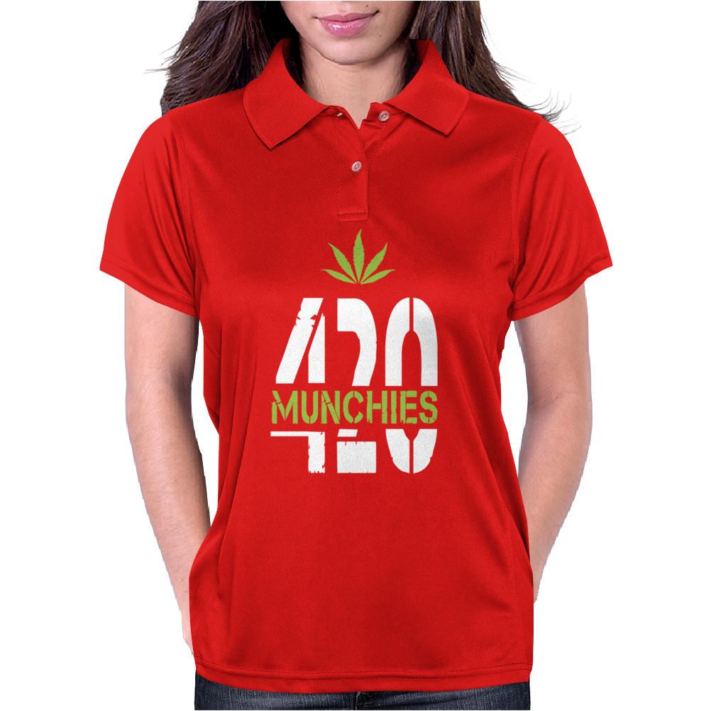 420 Munchies Weed leaf Womens Polo
