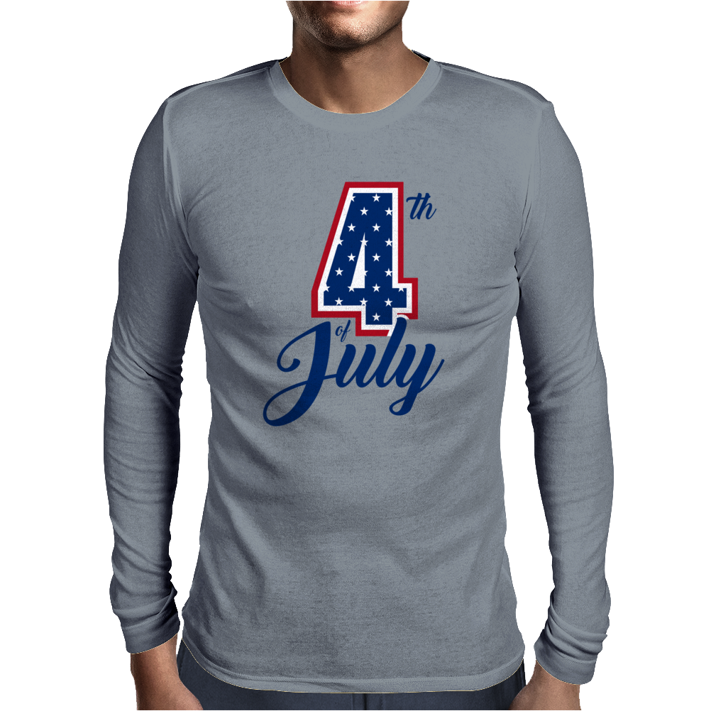 4th of July USA Big 4 Independence Day Mens Long Sleeve T-Shirt