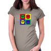 8-bit 4 color skulls Womens Fitted T-Shirt