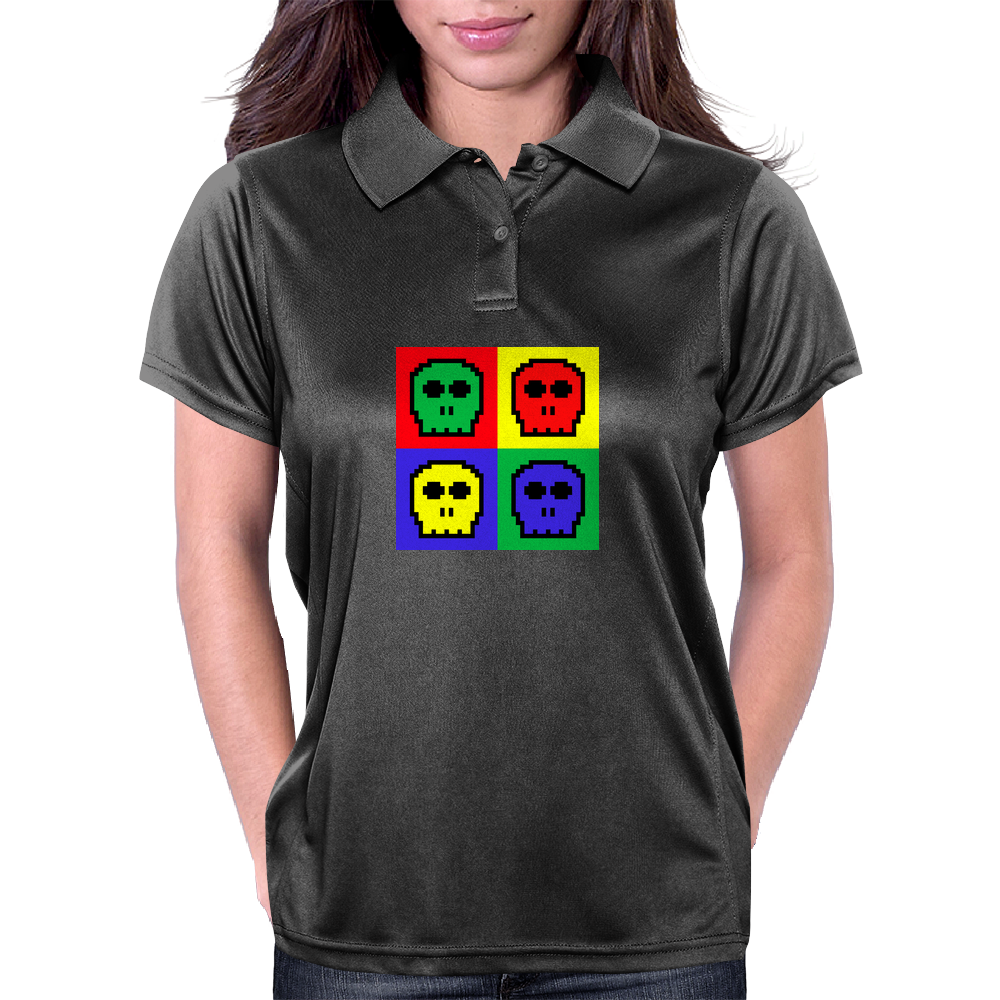 8-bit 4 color skulls Womens Polo