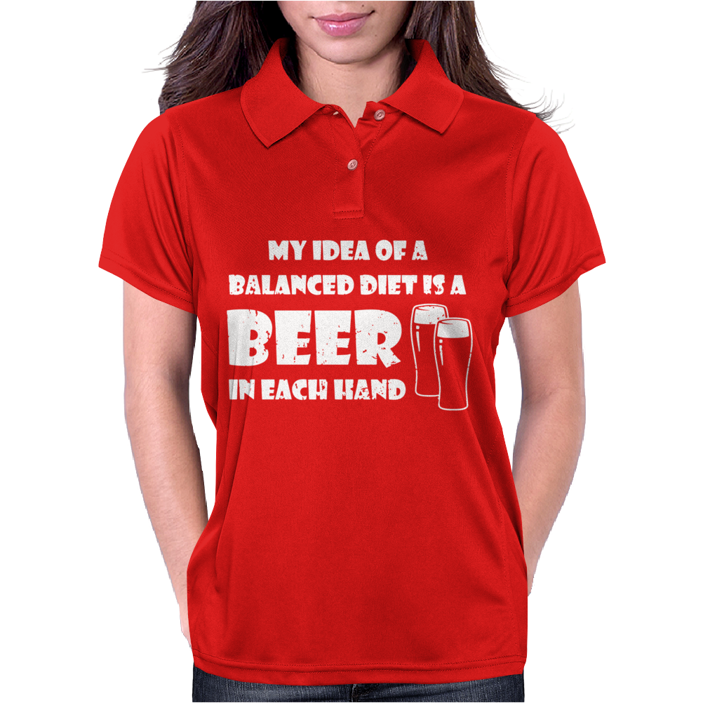 A Balanced Diet Is A Beer In Each Hand Womens Polo