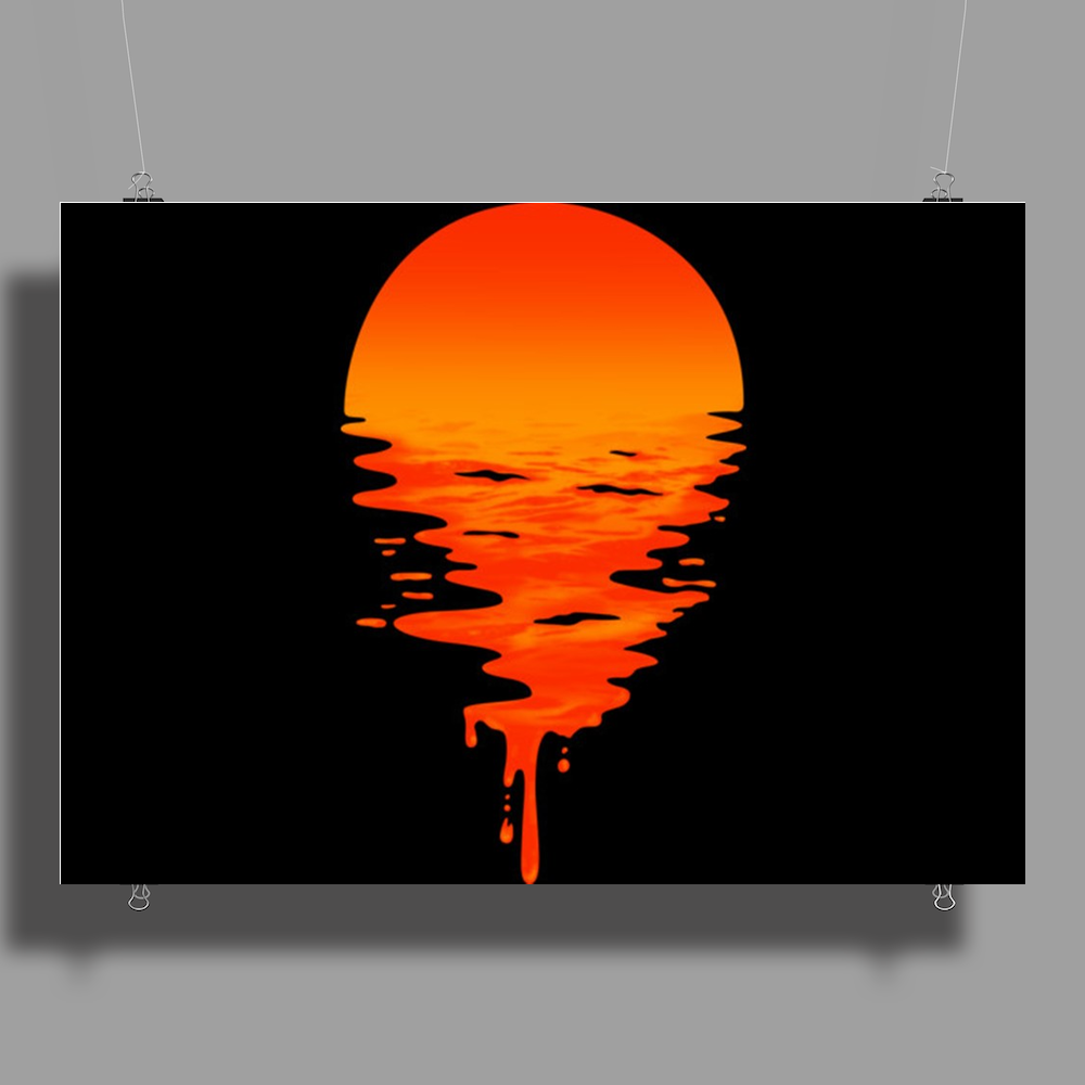 A beautiful sunset over the ocean Poster Print (Landscape)