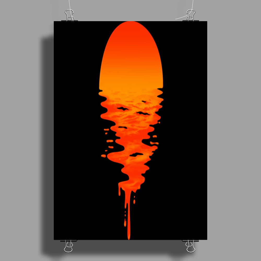 A beautiful sunset over the ocean Poster Print (Portrait)