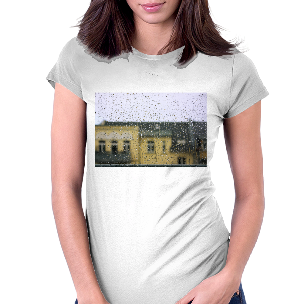 a raining day in the city somewhere in Europe Womens Fitted T-Shirt