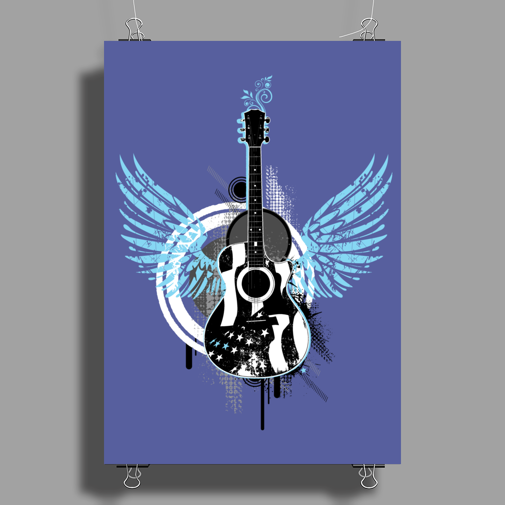 acoustic guitar light blue wings grunge style Poster Print (Portrait)