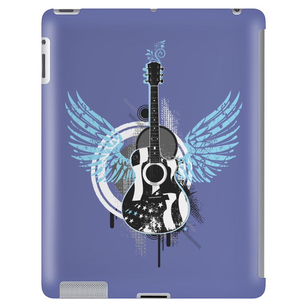 acoustic guitar light blue wings grunge style Tablet