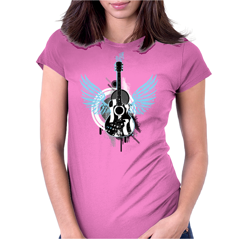 acoustic guitar light blue wings grunge style Womens Fitted T-Shirt