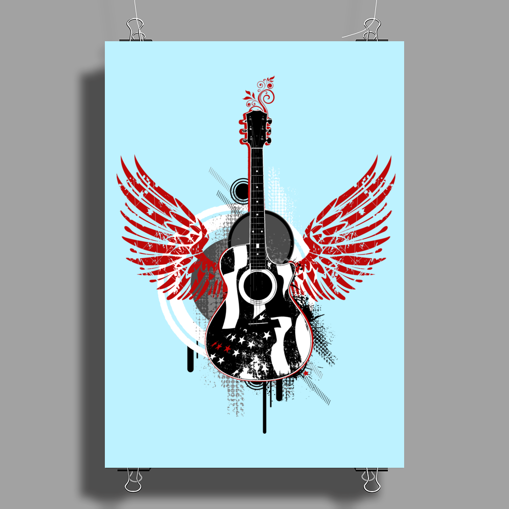 acoustic guitar red wings grunge style Poster Print (Portrait)