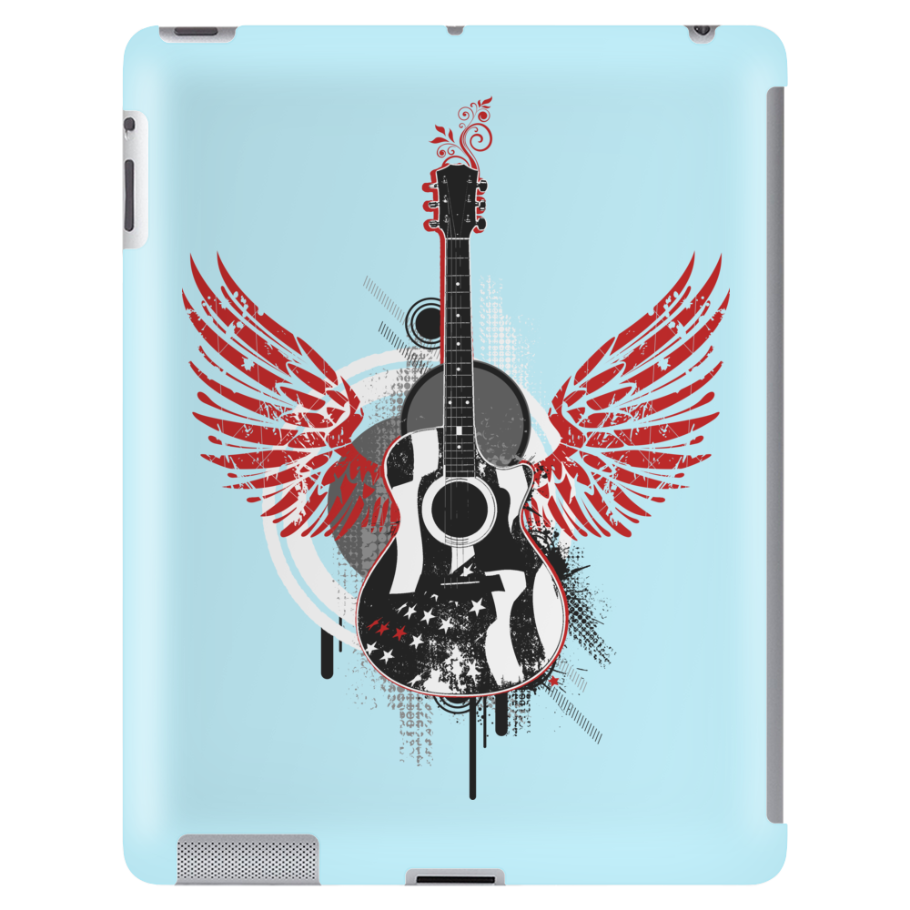 acoustic guitar red wings grunge style Tablet