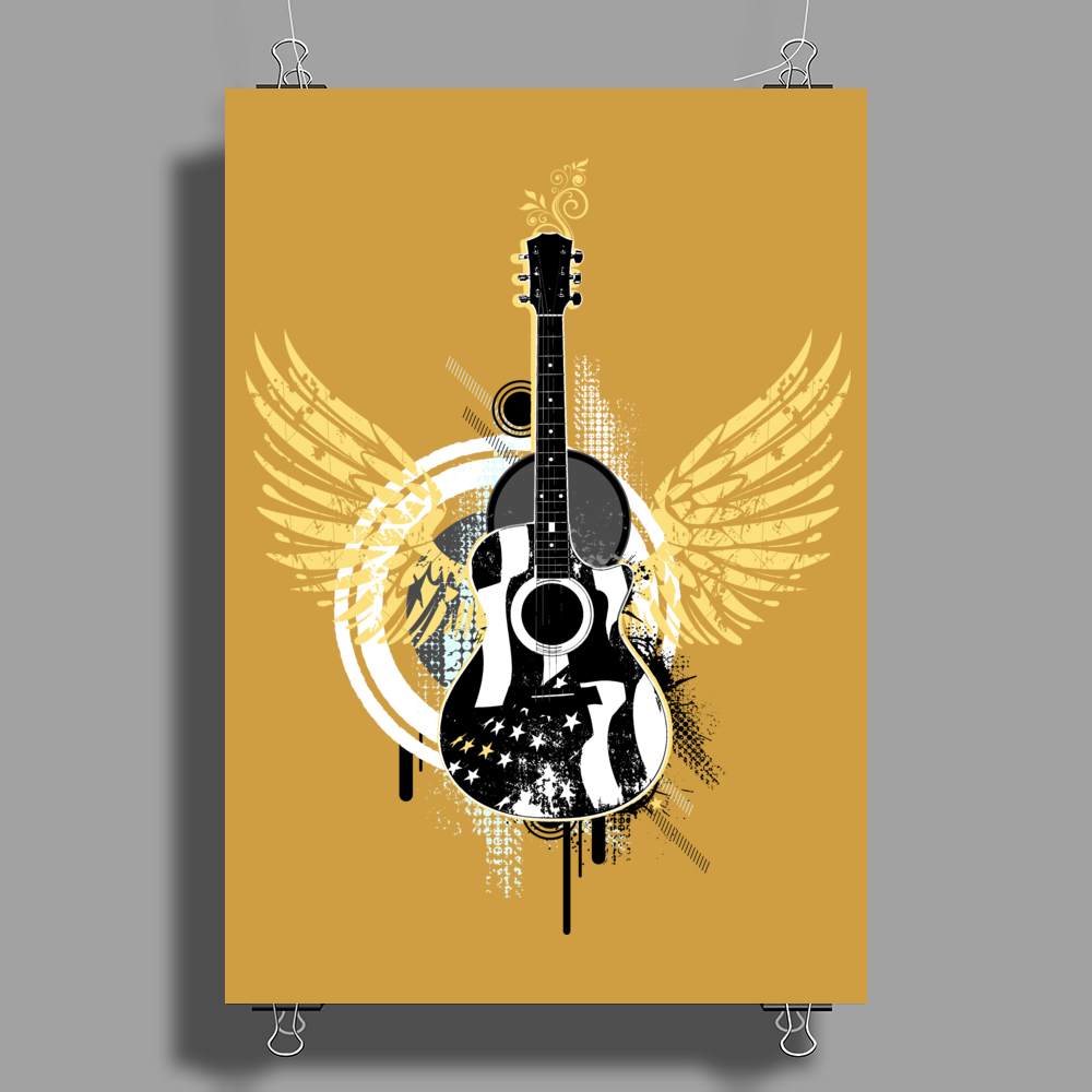 acoustic guitar yellow wings grunge style Poster Print (Portrait)