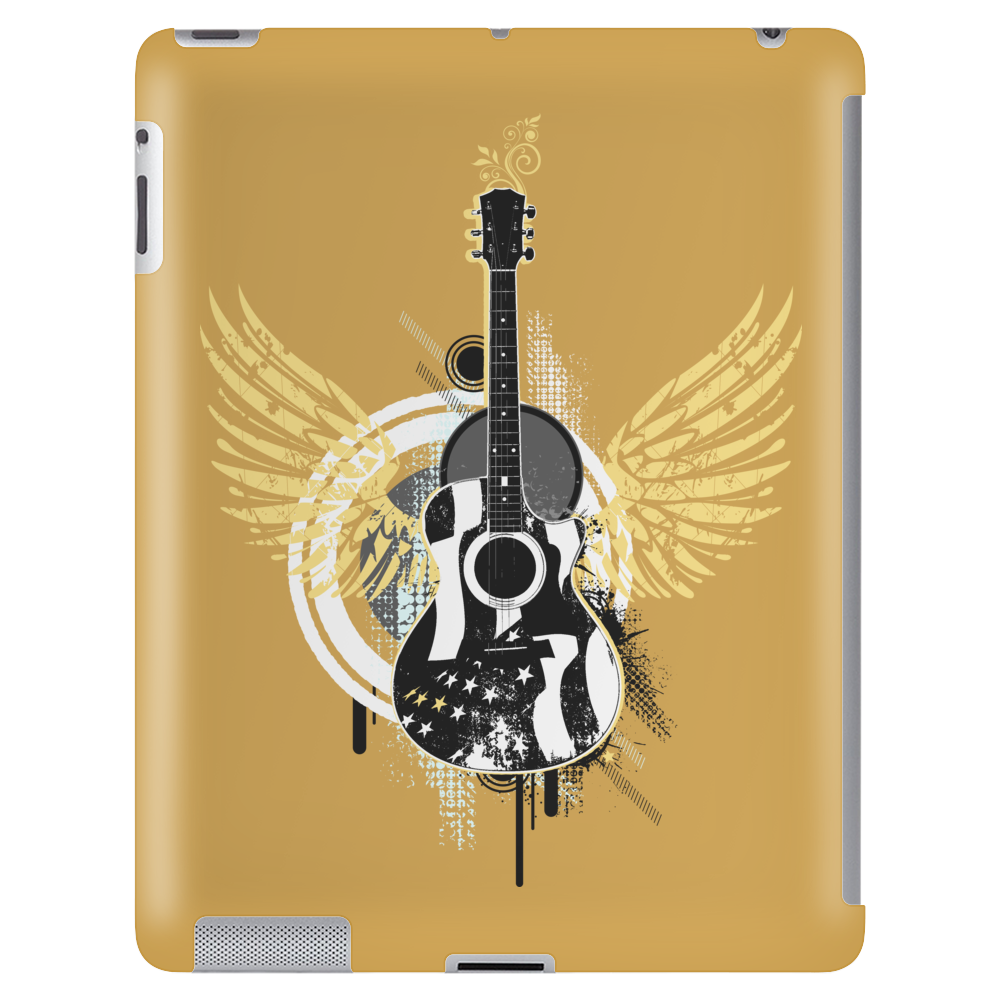 acoustic guitar yellow wings grunge style Tablet