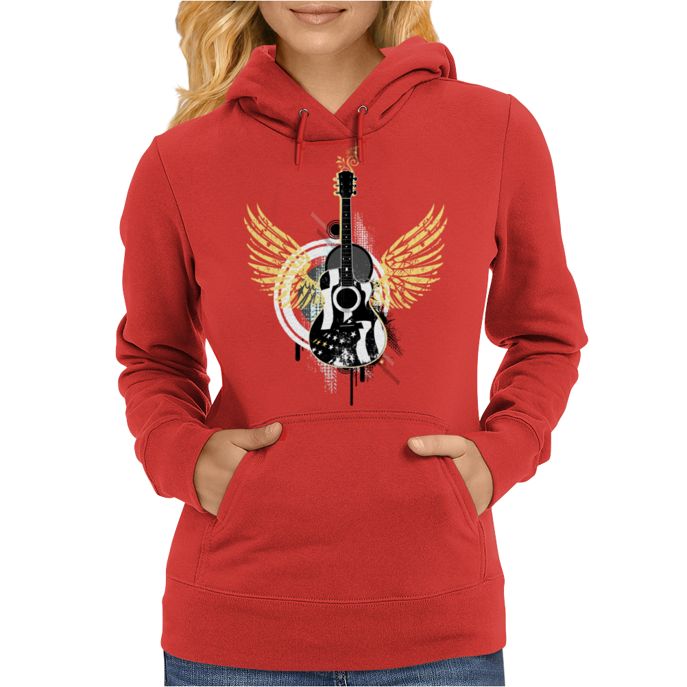 acoustic guitar yellow wings grunge style Womens Hoodie
