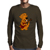 Adorable Funny Golden Retriever Puppy Dog Playing Red Guitar Mens Long Sleeve T-Shirt