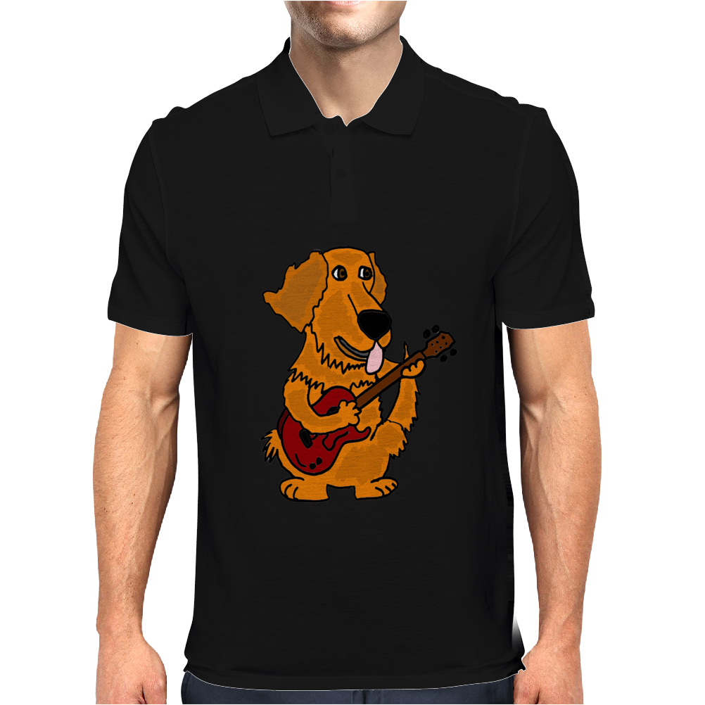 Adorable Funny Golden Retriever Puppy Dog Playing Red Guitar Mens Polo