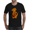 Adorable Funny Golden Retriever Puppy Dog Playing Red Guitar Mens T-Shirt