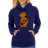 Adorable Funny Golden Retriever Puppy Dog Playing Red Guitar Womens Hoodie