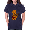 Adorable Funny Golden Retriever Puppy Dog Playing Red Guitar Womens Polo
