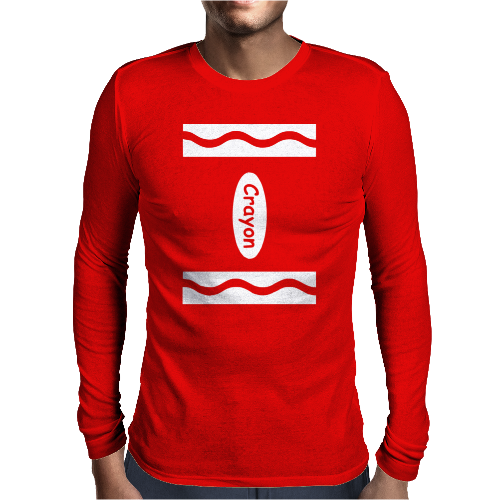 Adult Crayon Mens Long Sleeve T-Shirt