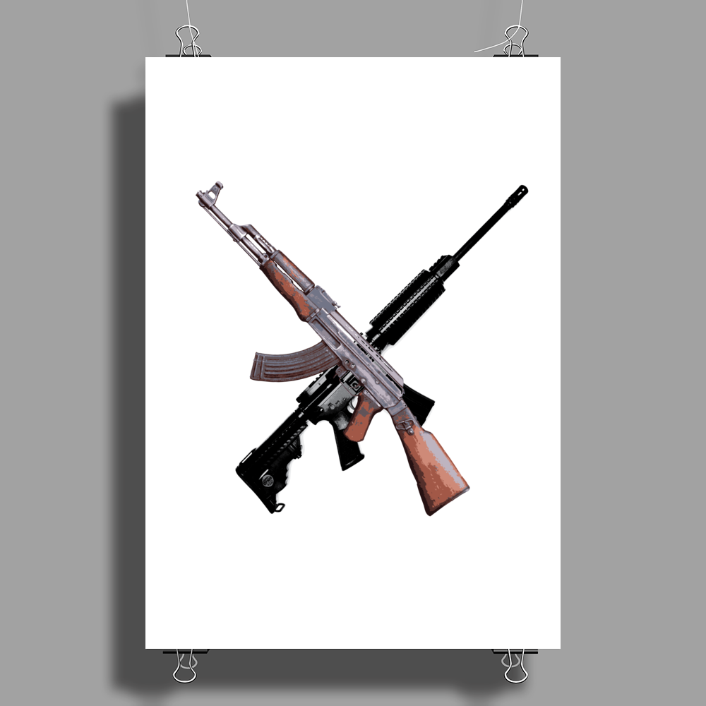 AK-47 and Bushmaster AR-15 rifles Poster Print (Portrait)