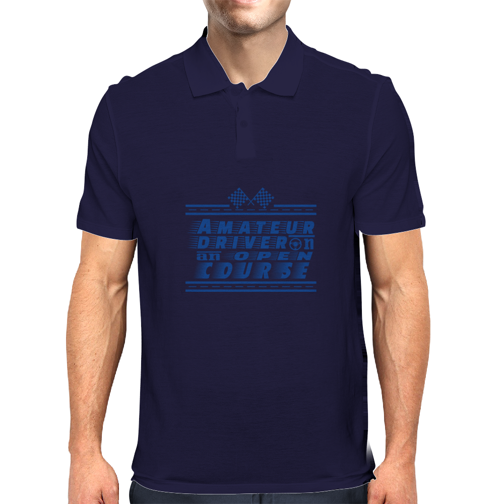 Amateur Driver on an Open Course racing logo. Mens Polo