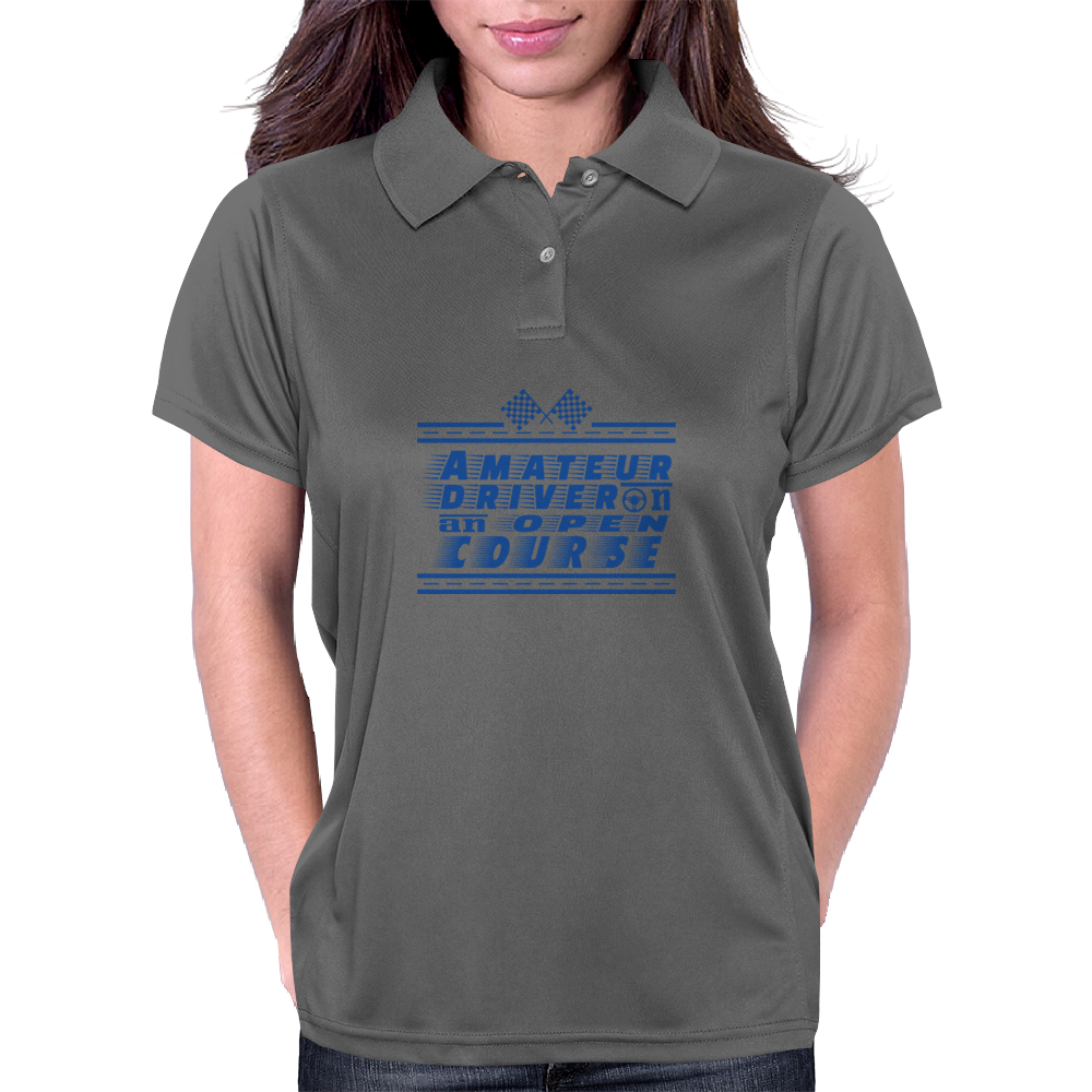 Amateur Driver on an Open Course racing logo. Womens Polo