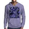 Amazing Blue Elephant with Raised Trunk Abstract Art Mens Hoodie