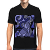 Amazing Blue Elephant with Raised Trunk Abstract Art Mens Polo
