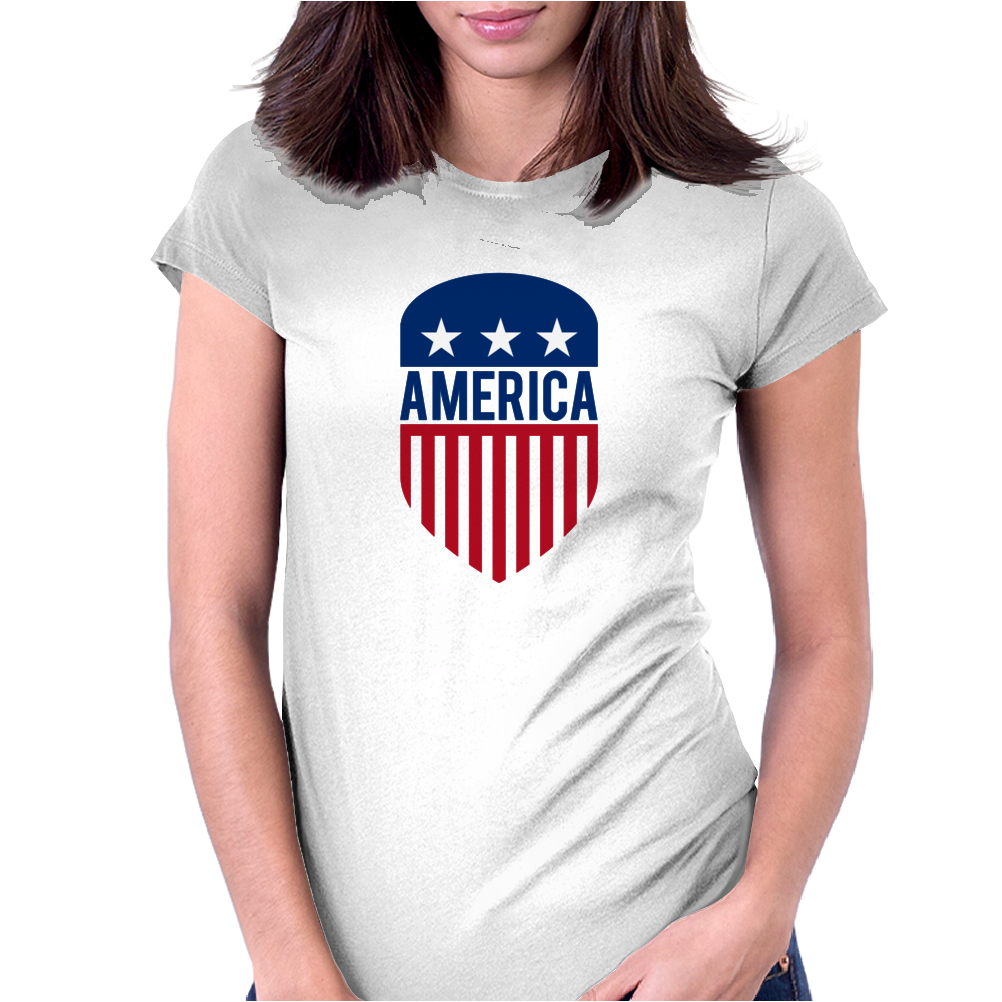 America 4th July USA Shield Womens Fitted T-Shirt