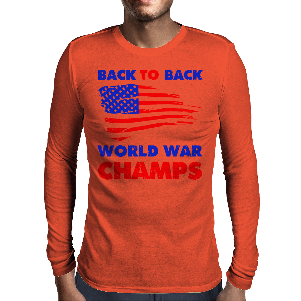 American Flag Back To Back Mens Long Sleeve T-Shirt