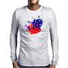 American Flag Blue & Red Splash Mens Long Sleeve T-Shirt