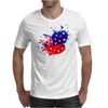 American Flag Blue & Red Splash Mens T-Shirt