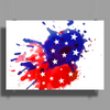 American Flag Blue & Red Splash Poster Print (Landscape)