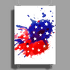 American Flag Blue & Red Splash Poster Print (Portrait)
