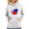 American Flag Blue & Red Splash Womens Hoodie