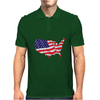 American Flag Map of the United States Mens Polo