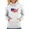 American Flag Map of the United States Womens Hoodie