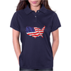 American Flag Map of the United States Womens Polo