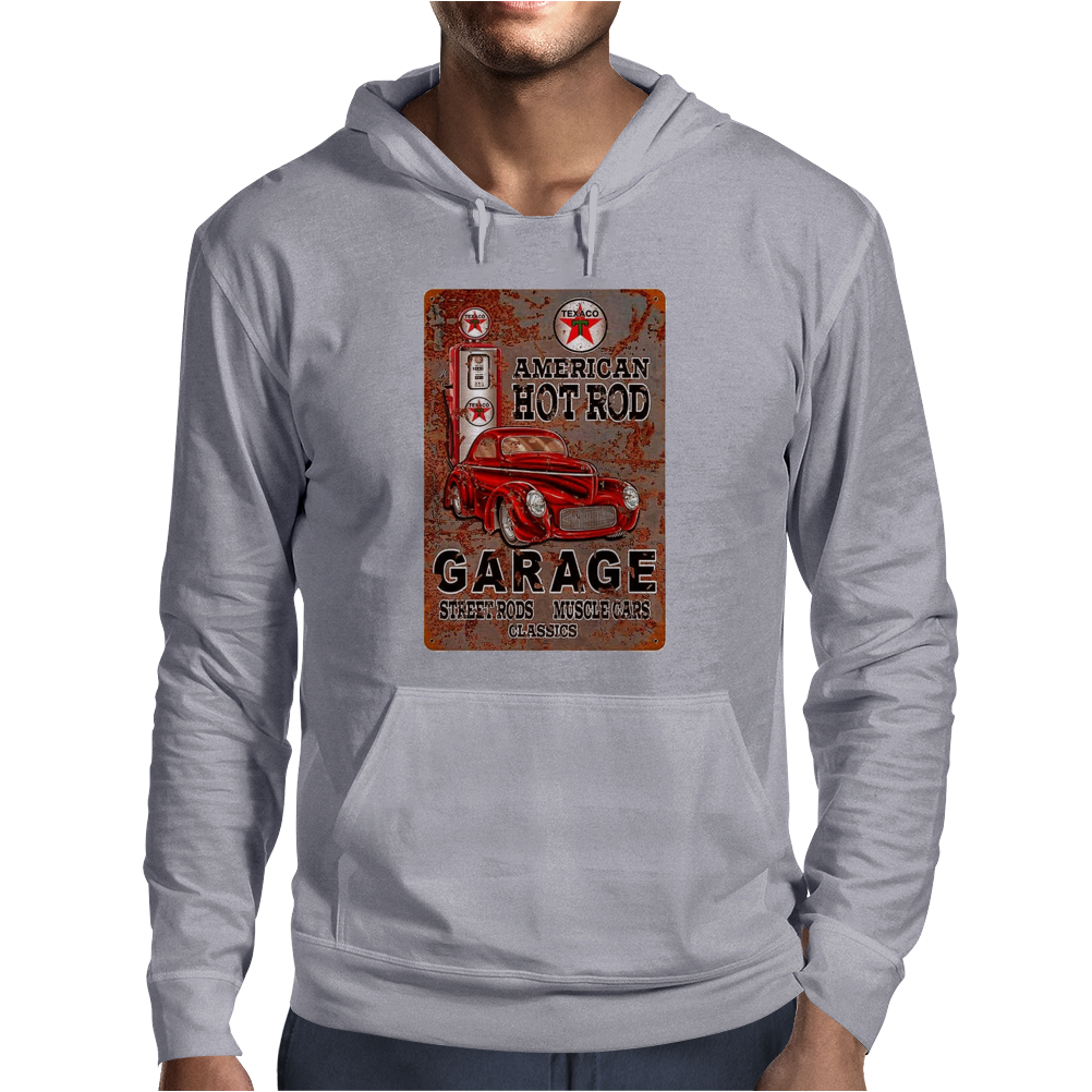 American Hot Rod Garage Sign, Ideal Gift or Birthday Present. Mens Hoodie