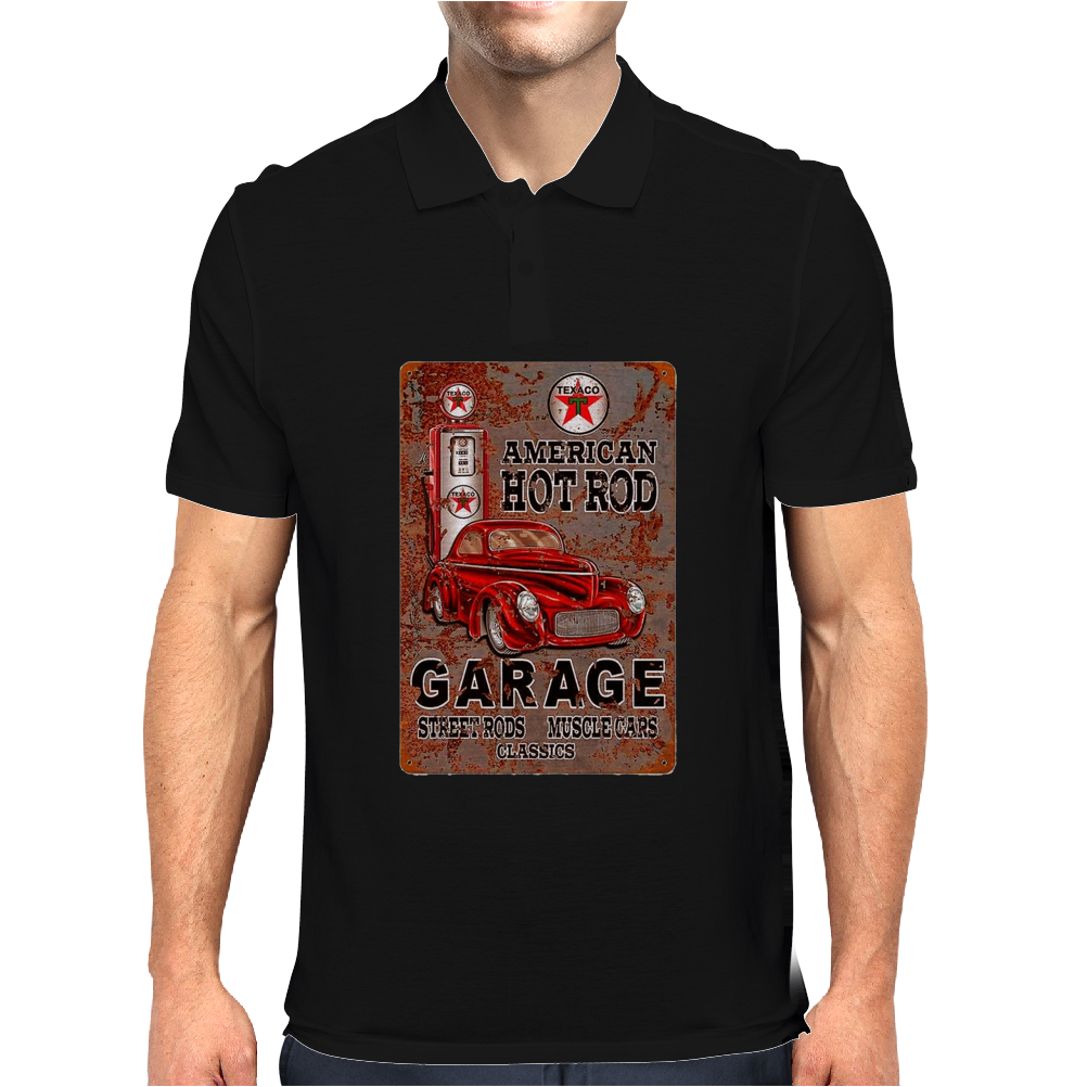 American Hot Rod Garage Sign, Ideal Gift or Birthday Present. Mens Polo