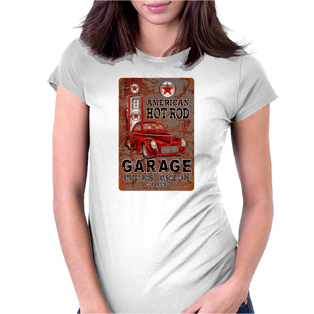 American Hot Rod Garage Sign, Ideal Gift or Birthday Present. Womens Fitted T-Shirt