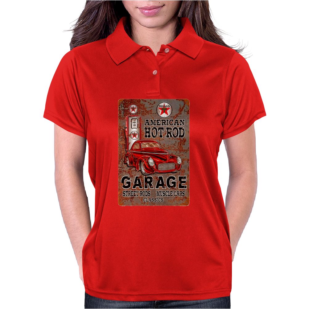 American Hot Rod Garage Sign, Ideal Gift or Birthday Present. Womens Polo