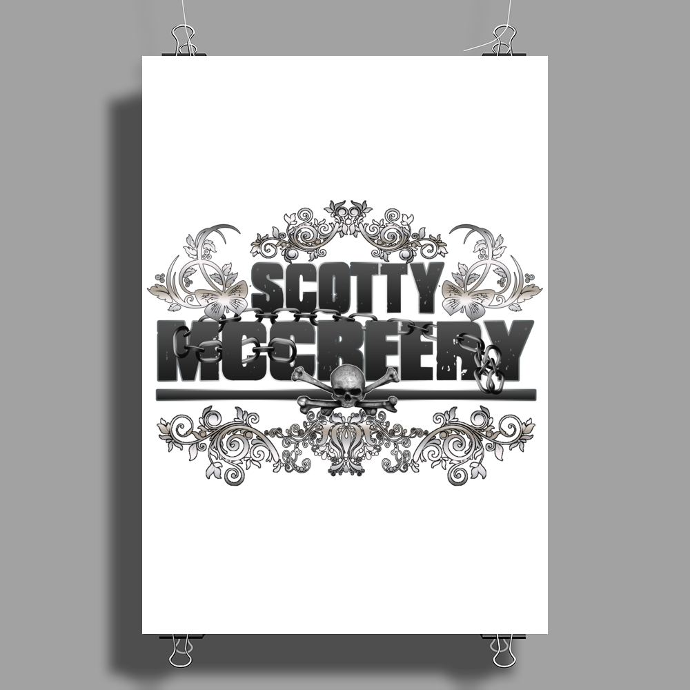 American Idol Scotty McCeery Floral Skull Chains Black Silver9 Poster Print (Portrait)