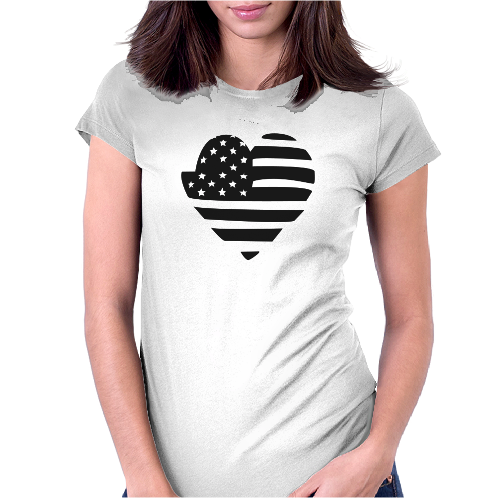 Americana Heart Girls Funny Humor Geek Womens Fitted T-Shirt