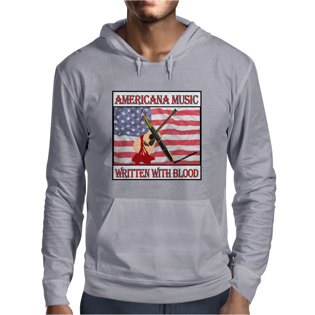 Americana Music- Written With Blood Mens Hoodie
