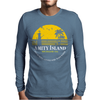 Amity Island Jaws Inspired Movie Shark Printed Mens Long Sleeve T-Shirt