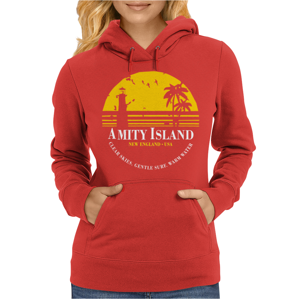 Amity Island Jaws Inspired Movie Shark Printed Womens Hoodie