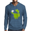 Android Robot Eats Apple Mens Hoodie